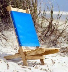 Wood Beach Chair – Camp Chair Hand Made in USA with Ash Lumber (Carolina Blue)