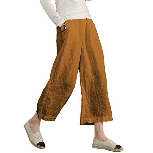 Ecupper Womens Casual Loose Plus Size Elastic Waist Cotton Trouser Cropped Wide Leg Pants Yellow 18W-20W