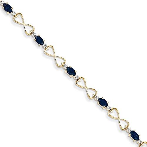 14k Yellow Gold Diamond and Sapphire Oval Bracelet 7inch (0.01ct, H/SI2) 14k Yellow Gold Sapphire Bracelet