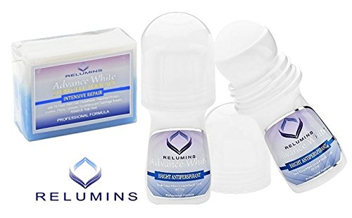 Relumins Advance Whitening Soap With Intensive Skin Repair & Stem Cell Therapy + Relumins Advance White Bright Antiperspirant Roll-on - Whitening Deodorant