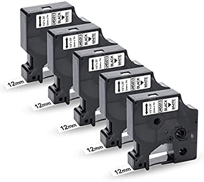 3-Pack UniPlus Compatible Label Tape Replacement for Dymo 12mm 0.47 45013 S0720530 Black on White 12mm x 7m for Dymo LabelManager 160 210D 220P 360D 500TS LabelPoint 150 200 LabelWriter 450 Duo