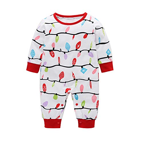 Family Matching Christmas Pajamas Set Mommy and Me Xmas Twinkle Light Sleepwear Home Dress (Baby one Piece Jumpsuit, 9-12months)