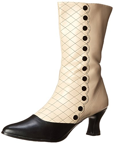 Funtasma Women's Victorian-123 Boot, Cream/Black Polyurethane, 7 M (Victorian Button Boots)