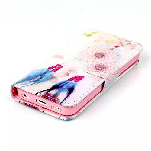 iPhone 5C Coque , Apple iPhone 5C Coque Lifetrut® [ Attrapeur de rêves ] [Wallet Fonction] [stand Feature] Colorful Magnetic snap Wallet Wallet Prime intégré dans la carte Slots flip Coque Etui pour A
