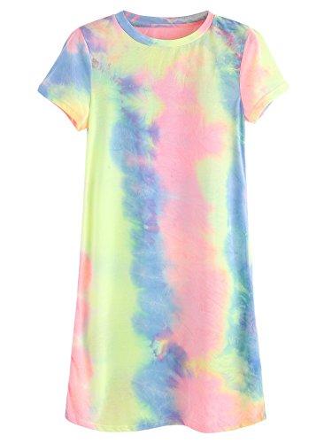 ROMWE Women's Summer Casual Short Sleeve Tunic Dress Tie Dye T-Shirt Dress Multicolor XL