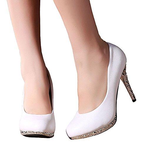 Getmorebeauty Womens Off White Glitter Dress Scarpe Da Sposa Tacco Alto