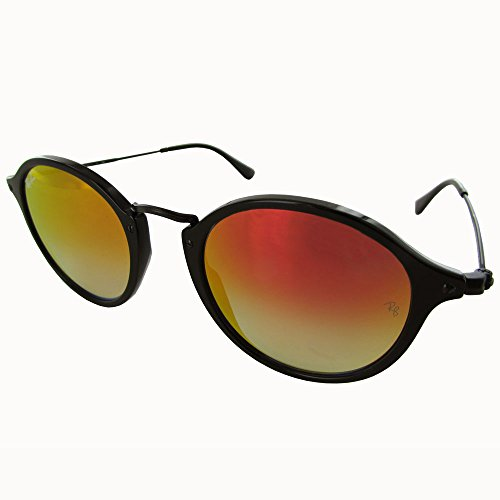 Ray-Ban Women's Mirrored Round Sunglasses, Shiny Black/Red, One - Ban Black Red And Sunglasses Ray