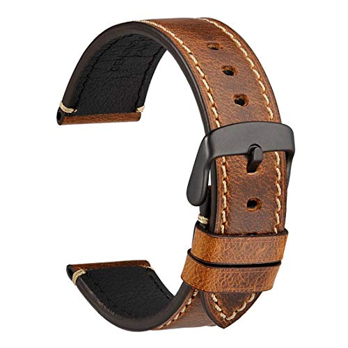 (WOCCI Watch Band 22mm, Premium Saddle Style Vintage Leather Watch Strap with Black Buckle (Gold)