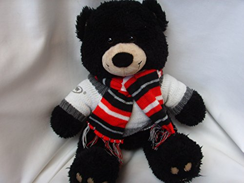 cdw-black-teddy-bear-plush-toy-16-with-red-winter-scarf