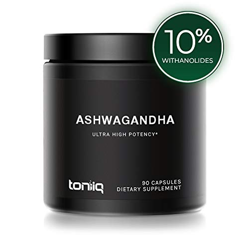 Ultra High Strength Ashwagandha Capsules - 10% Withanolides - 19,5000mg 15x Concentrated Extract - Wild Harvested in India - The Strongest Ashwagandha Anxiety Relief Support Available - 90 Caps (The Best Ashwagandha Supplement)