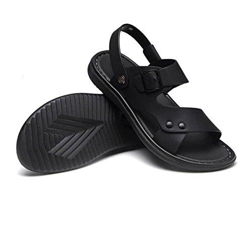 Black Sandalias De Zapatillas Hombres Impermeables para Zapatos De Cepillado Playa Cuero RRvaq