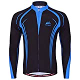 ¡¾ADisaer¡¿Sports StyleCycling Jersey Top For Men Long Sleeves Black Blue XLll Bike Shirt- Breathable And Quick Dry