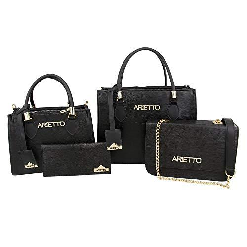 Conjunto com 4 Peças Bolsas Femininas e Carteira Lisa Arietto