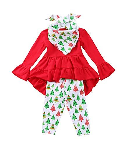 Toddler Girl Clothes Ruffles Irregular Mini Dress Tops+Long Pant Scarf 3PCS Clothing Set (tag: 120/4-5 Years, Red 1)