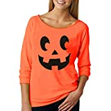 Fheaven (TM) Fashion Sweatshirt Women Halloween Casual Pullover Long Sleeve Print T-Shirt Jumper (US:2, Orange)