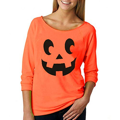 Halloween Costume, Misaky Women's Fashion Casual Long Sleeve Print T-Shirt Sweatshirt(Orange, Small) -