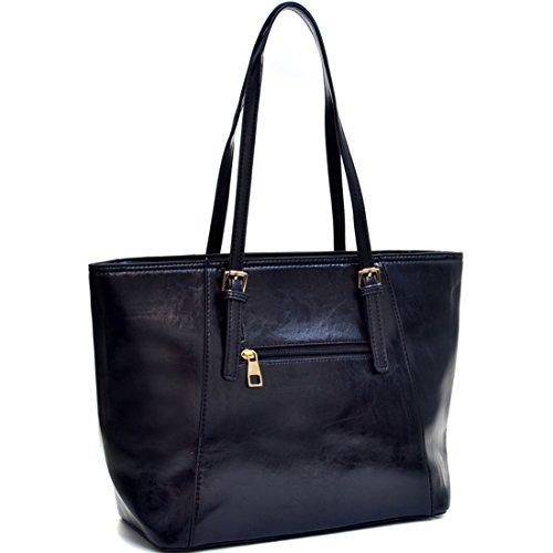 Dasein Elegant Buckle Strap Emblem Shoulder Bag, Tote, Handbag, Tablet Bag, iPad Bag - Black