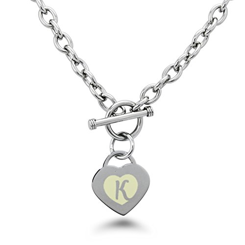 Stainless Steel Alphabet Letter K Initial Engraved Heart Charm, Necklace Only