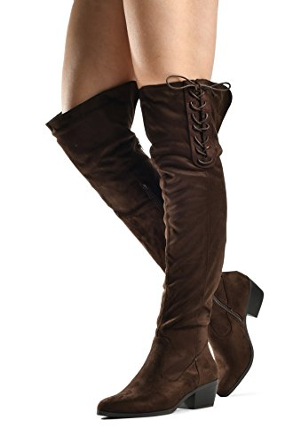 Brown Knee Women's The Over Boots Lace Kate Lace Up Heel Tall Low 4OxpwfqxB