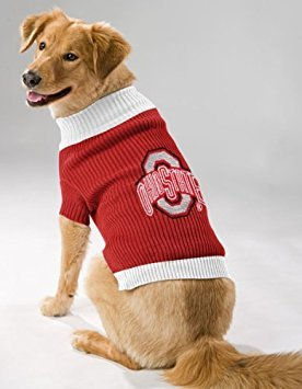 Pets First OHIO STATE BUCKEYES DOG PET EMBROIDERED SWEATER - XS S M L - LICENSED (Large) - Embroidered Ribbed Sweater