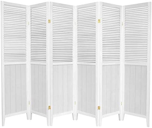 Oriental Furniture 6 ft. Tall Beadboard Divider – White – 6 Panels