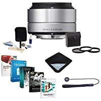 Sigma 30mm f/2.8 DN ART Lens for Sony E-mount Nex Series Cameras, Silver - Bundle with 46mm Filter Kit (UV/CPL/ND2), Lens Cap Leash, Cleaning Kit, Lens Wrap, Special Professional Software Package