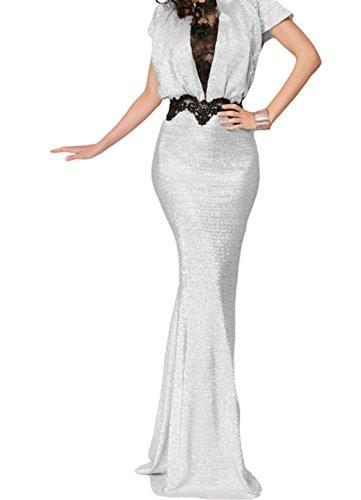 Christmas DH-MS Dress Women's Black Lace Trim Silver Long Evening Dress L