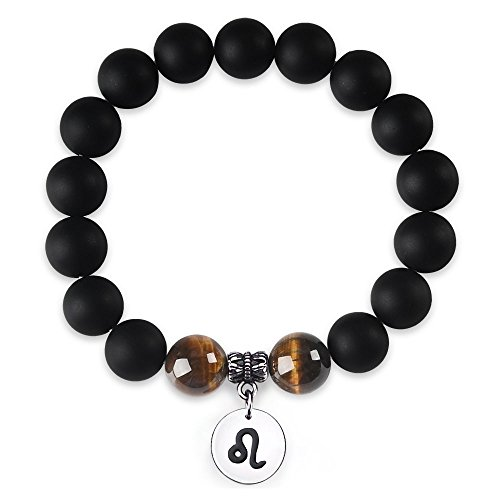 Jeka Zodiac Bracelet for Men Leo Constellation Sign Charm 12mm Black Agate Tiger Eye Natural Stone Healing Energy Beads Elastic Handmade Jewelry