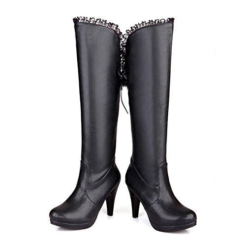Bandage Boots Lace Imitated BalaMasa Womens Black Leather Platform C568qWg