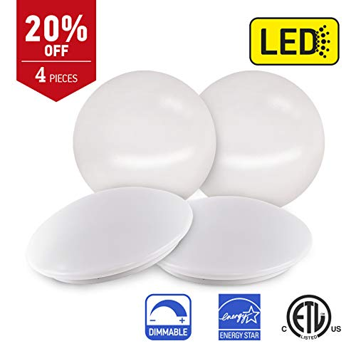 OSTWIN 11-inch LED Flush Mount Ceiling Light MS Series 16W (75 Watt Equivalent), Dimmable, 3000K (Warm White), 1395 Lumens, White Finish with Acrylic Shade, (4 Pack) ETL and Energy Star Listed by OSTWIN