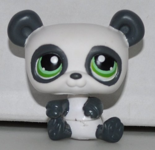 Panda Bear #250 (White / Grey, Green Eyed) Littlest Pet Shop (Retired) Collector Toy - LPS Collectible Replacement Single Figure - Loose (OOP Out of Package & Print)