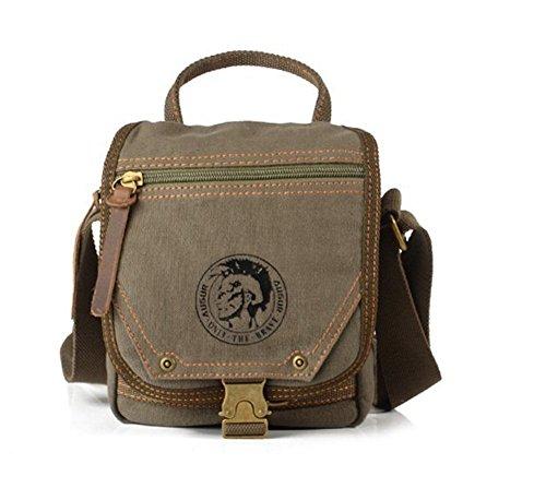 Sechunk Cotton Small Leather Canvas Messenger Bag Shoulder Bag Crossbody Satchel Bag Working Bag Travel Duffel Bag Sports Bag for Men and Women