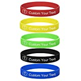 LMXXV Custom Engraving-Pack of 5 Color Medical Alert ID Silicone Rubber Sport Fashion Bracelet Wristband,7.9'