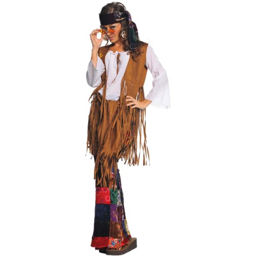 Underwraps Costumes  Women's Retro Hippie Costume - Peace Out, White/Tan/Multi, ()