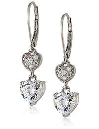 Sterling Silver Cubic Zirconia Double Heart Lever Back Drop Earrings (3.18 cttw)