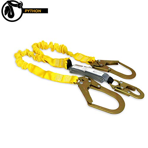 KwikSafety (Charlotte, NC) Python | Double Leg 6foot Tubular Stretch Safety Lanyard | OSHA ANSI Fall Protection External Shock Absorber Construction Arborist Roofing Snap and Rebar Hook Connector