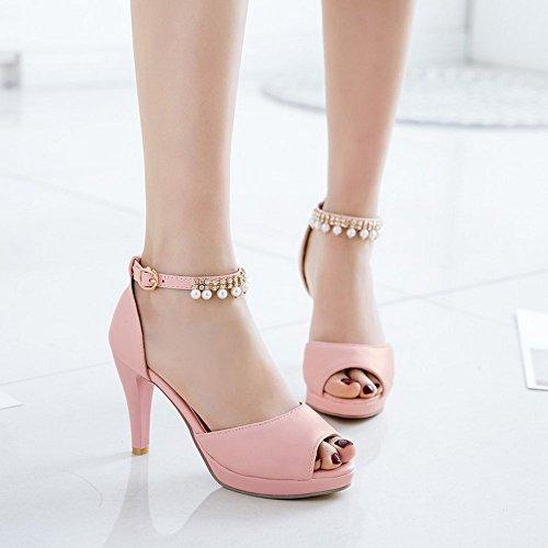 Verano Sandalias Toe Zapatos Sandalias Alto heelsWomen BAJIAN LI Chanclas Bajos Zapatos Peep Señoras q1wEqIA