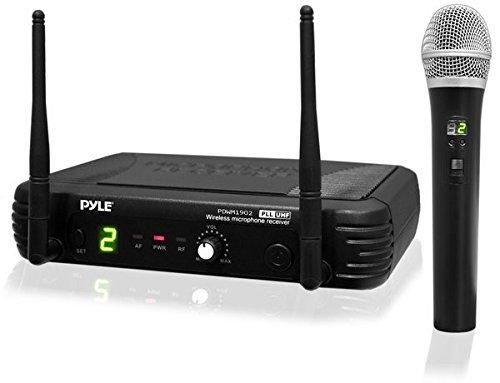 PYLE PDWM1902 Wireless Microphone System & karaoke microphone-UHF-Adjustable Channels