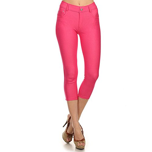 (TZ Promise for Women Girls Solid Color Soft Skinny Stretch Pants Capri Jeggings (Hot Pink, Small))