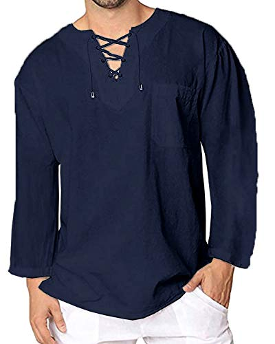Mens Cotton T Shirt Casual Beach Hippie Yoga Tees Plain Drawstring Long Sleeve Lace Up Tops -