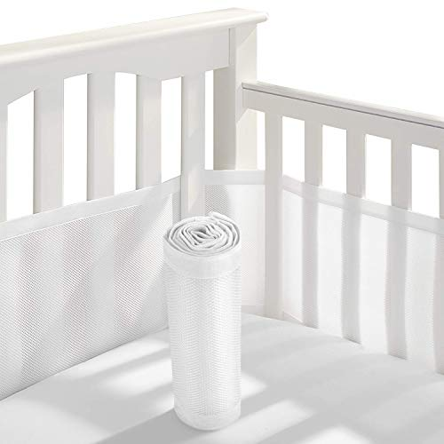 Baby Crib Bumper,Classic Breathable Mesh Crib Liner,2 Pieces/Set (White)