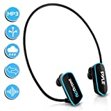 Waterproof MP3 Player Swim Headphone - Submersible IPX8 Flexible Wrap-Around Style Headphones Built-in Rechargeable Battery USB Connection w/ 4GB Flash Memory & Replacement Earbuds - Pyle PSWP6BK