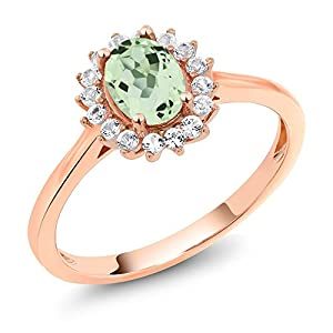 10K Rose Gold 0.99 Ct Oval Green Prasiolite White Created Sapphire Ring (Available in size 5, 6, 7, 8, 9)