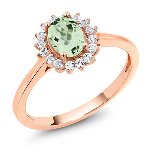 10K Rose Gold 0.99 Ct Oval Green Amethyst White Created Sapphire Ring (Available in size 5, 6, 7, 8, 9)