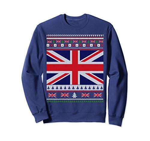 UK Flag Ugly Christmas Sweater Sweatshirt Jumper (Cheap Christmas Uk Jumpers)