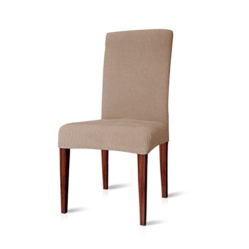 CHUN YI Jacquard Polyester and Spandex Chair Covers for Dining Room (4, Light Khaki)
