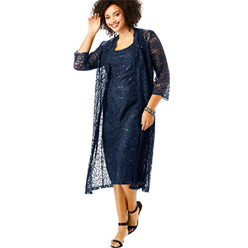 Roamans Women's Plus Size Flyaway Full Length Jacket Dress - Navy, 16 W