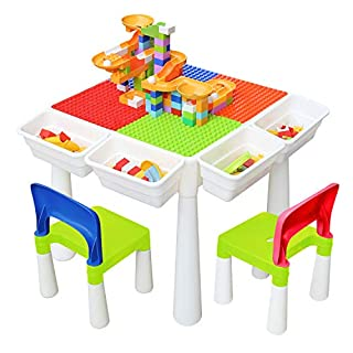 Kids 4-in-1 Multi Activity Build Table and 2 Chair Set 120 Pieces Large Building Blocks Water Table Building Block Table Play Arts Crafts Table with Storage Space for Kids Toddler (Classic, 20 inch)