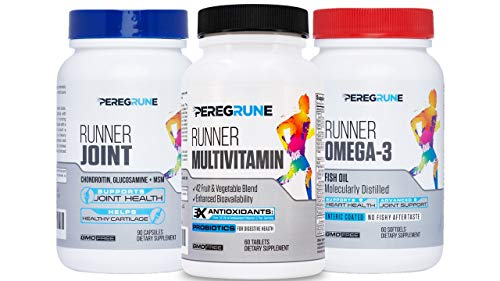 PEREGRUNE Runner Vitamin, Joint Support, & Omega-3 Bundle: Engineered Running Supplement | Antioxidants, Vitamin B Complex, Probiotics, Glucosamine/Chondroitin/MSM, EPA/DHA Fish Oil