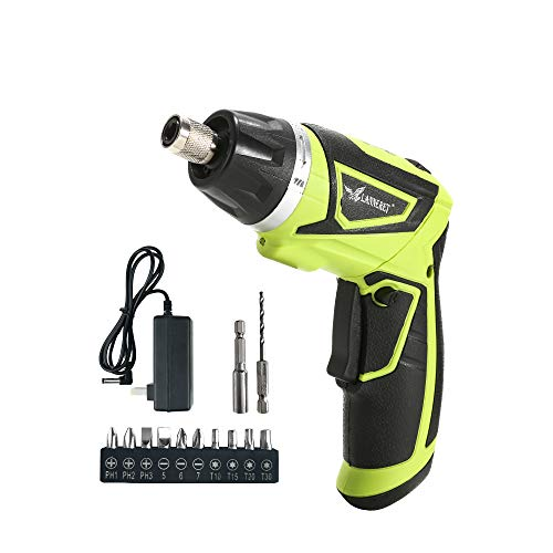 LANNERET Electric Screwdriver Cordless Household 7.2 V 1500mAh Lithium-Ion Rechargeable Power Screw Guns with 6+1 Torque LED Light,Green by LANNERET